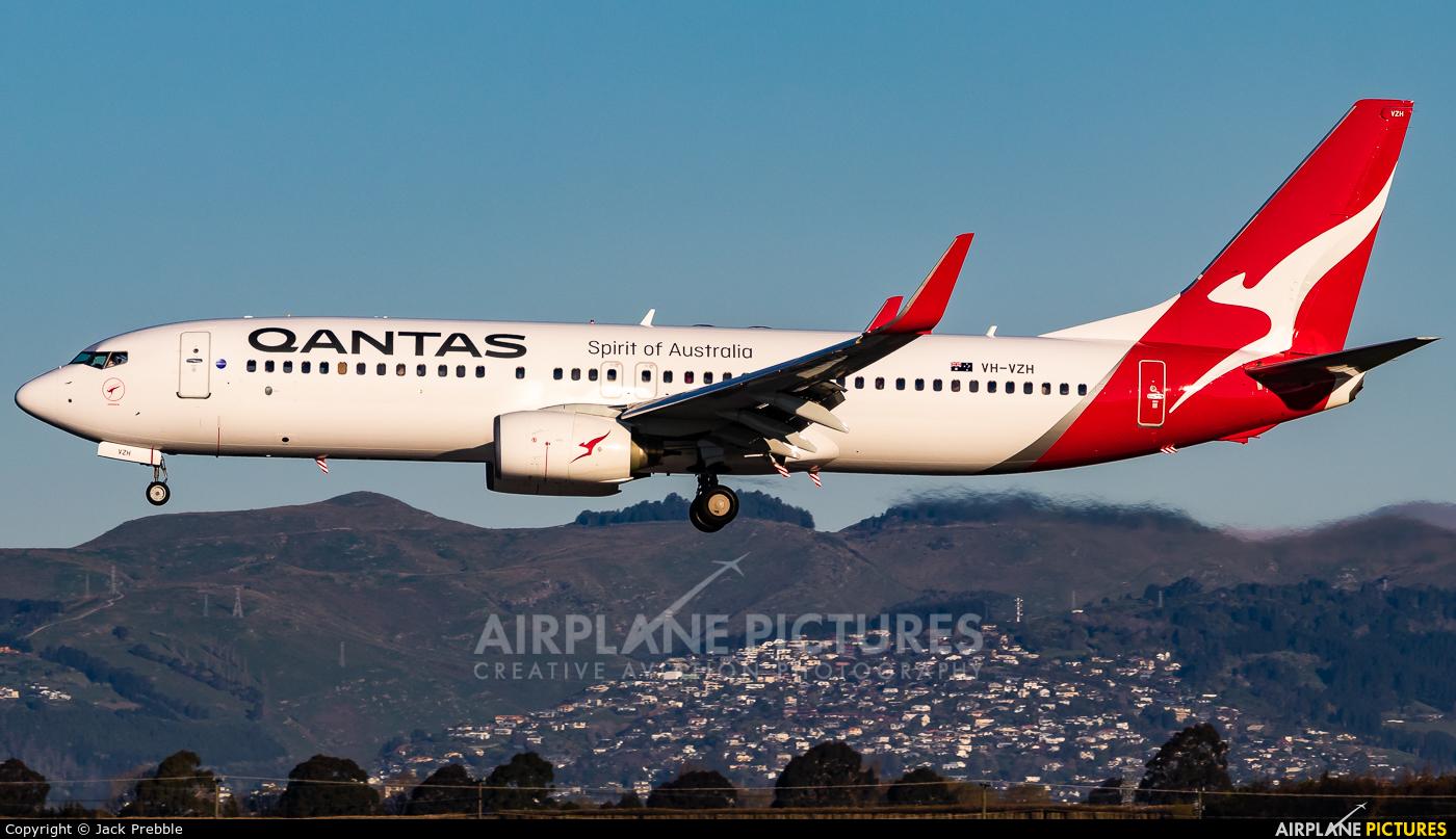 QANTAS VH-VZH aircraft at Christchurch Intl