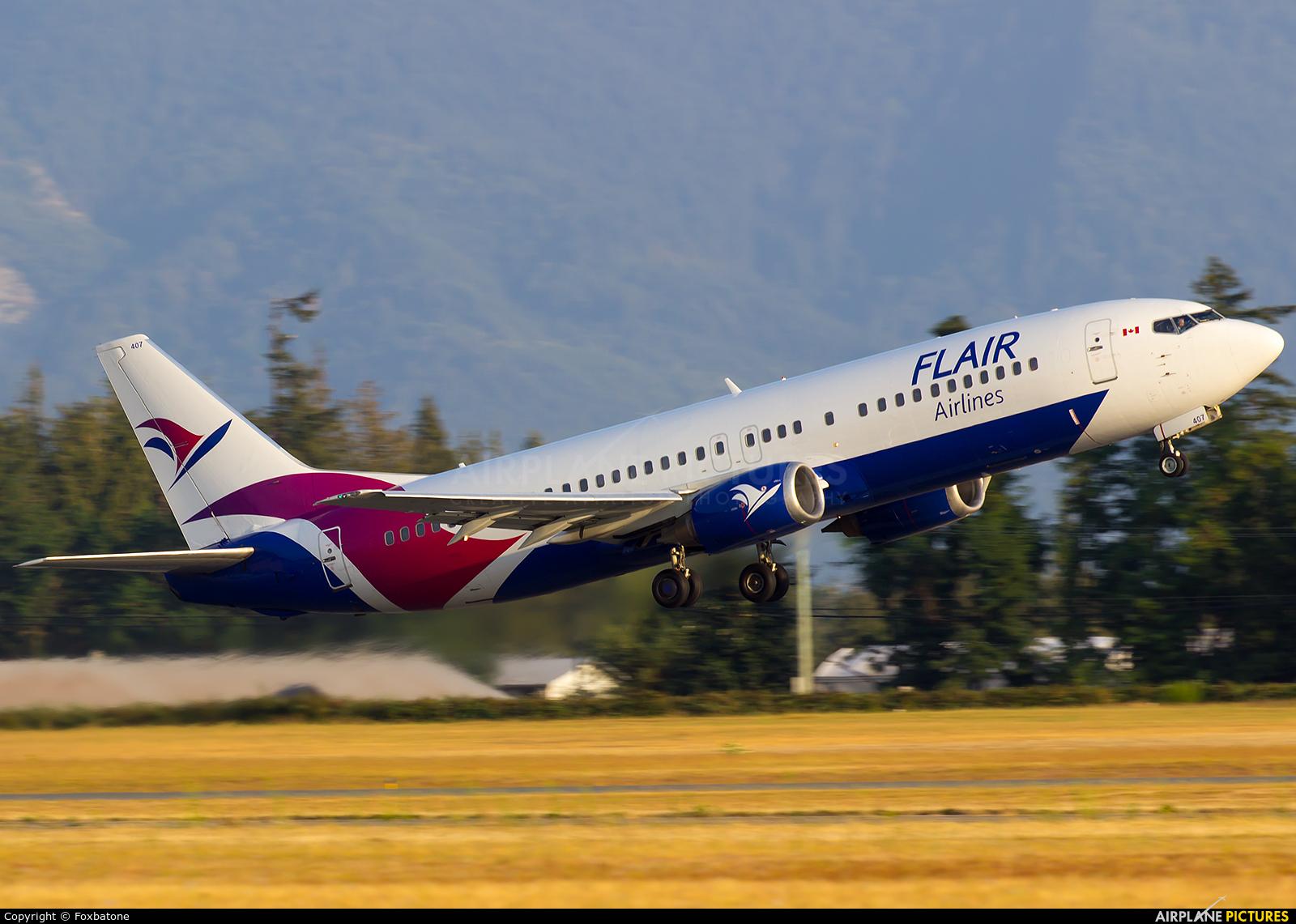 Flair Air C-FLHE aircraft at Abbotsford, BC