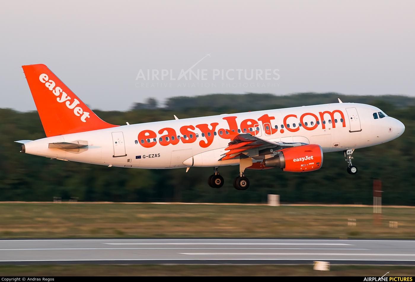 easyJet G-EZAS aircraft at Budapest Ferenc Liszt International Airport