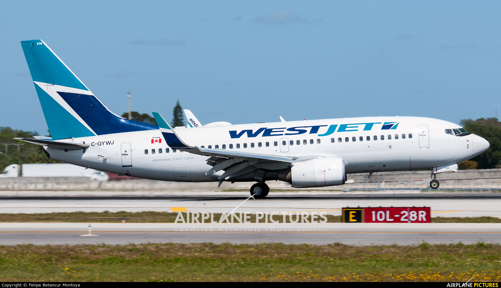 WestJet Airlines C-GYWJ aircraft at Fort Lauderdale - Hollywood Intl