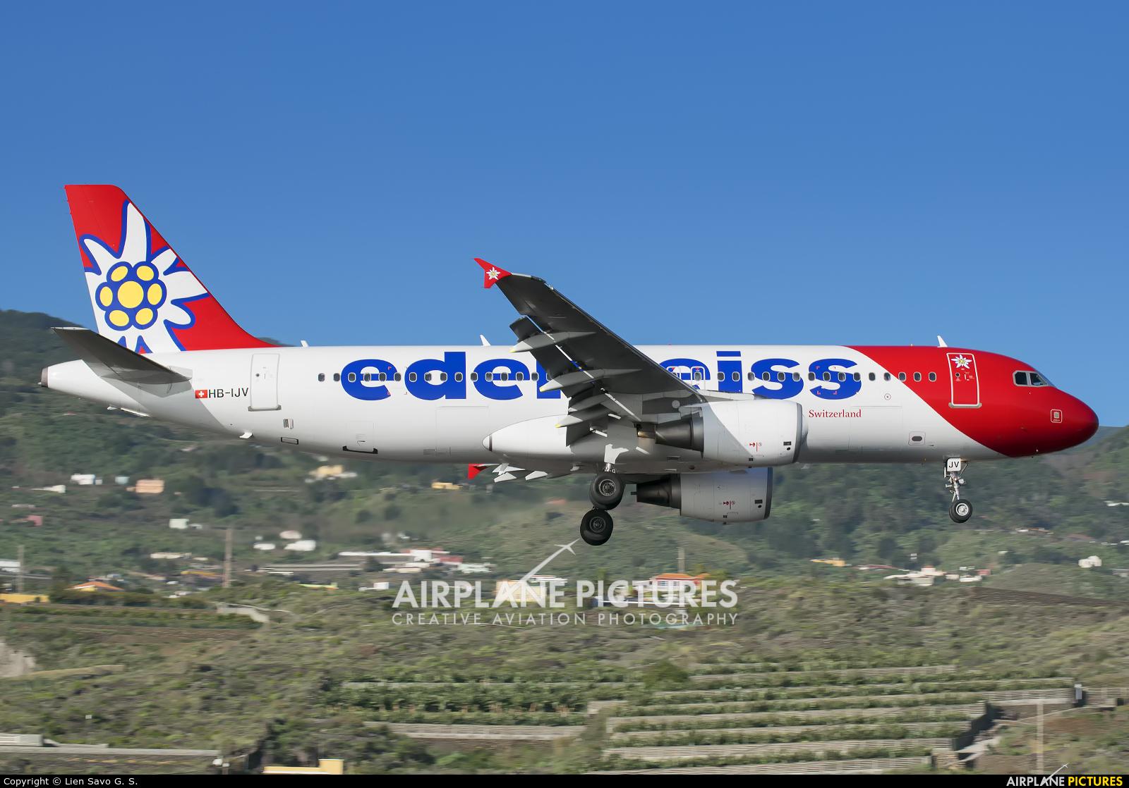 Edelweiss HB-IJV aircraft at Santa Cruz de La Palma