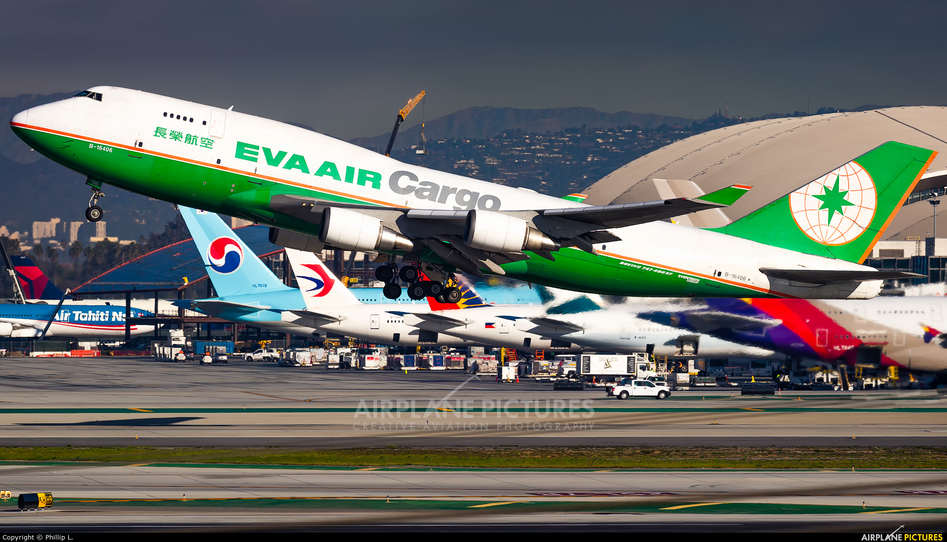 EVA Air Cargo B-16406 aircraft at Los Angeles Intl