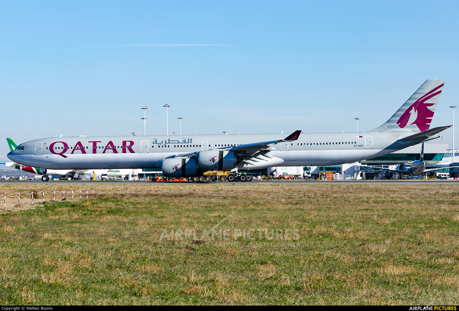 Qatar Airways A7-AGA aircraft at Rome - Fiumicino