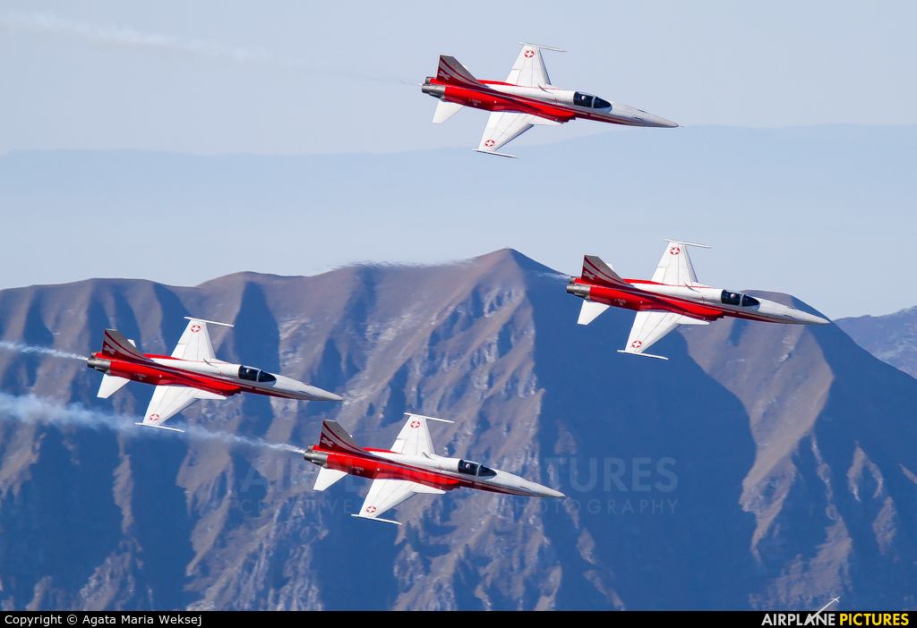 Switzerland - Air Force:  Patrouille de Suisse J-3085 aircraft at Axalp - Ebenfluh Range