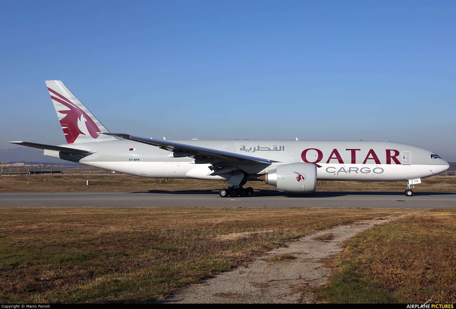 Qatar Airways Cargo A7-BFK aircraft at Milan - Malpensa