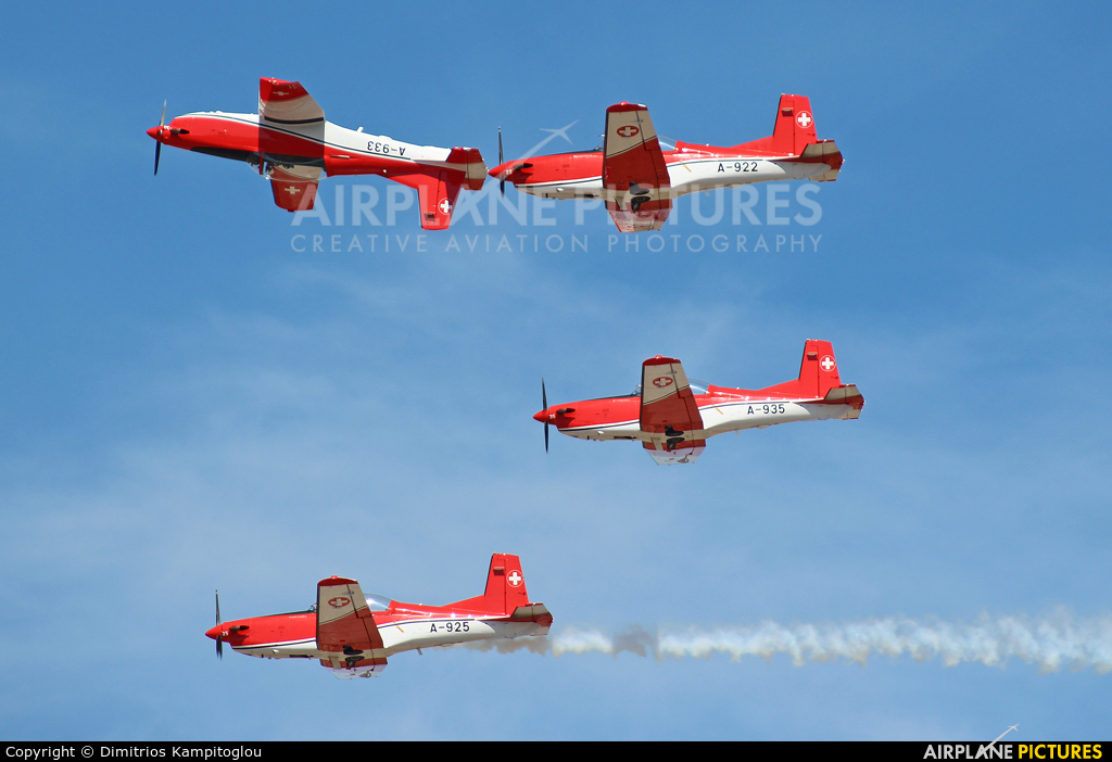 Switzerland - Air Force: PC-7 Team A-935 aircraft at Tanagra