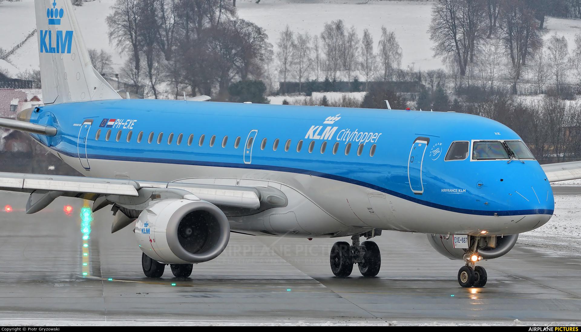 KLM Cityhopper PH-EXE aircraft at Kraków - John Paul II Intl