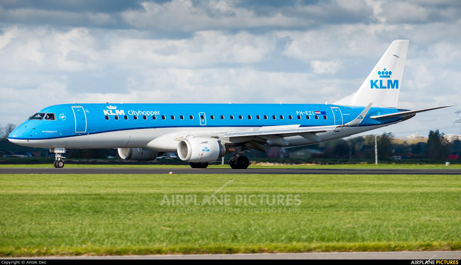 KLM Cityhopper PH-EZL aircraft at Amsterdam - Schiphol