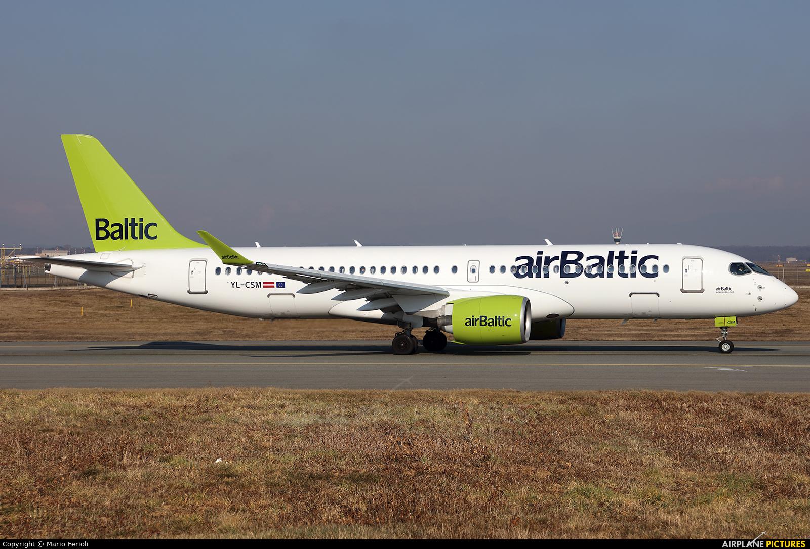 Air Baltic YL-CSM aircraft at Milan - Malpensa
