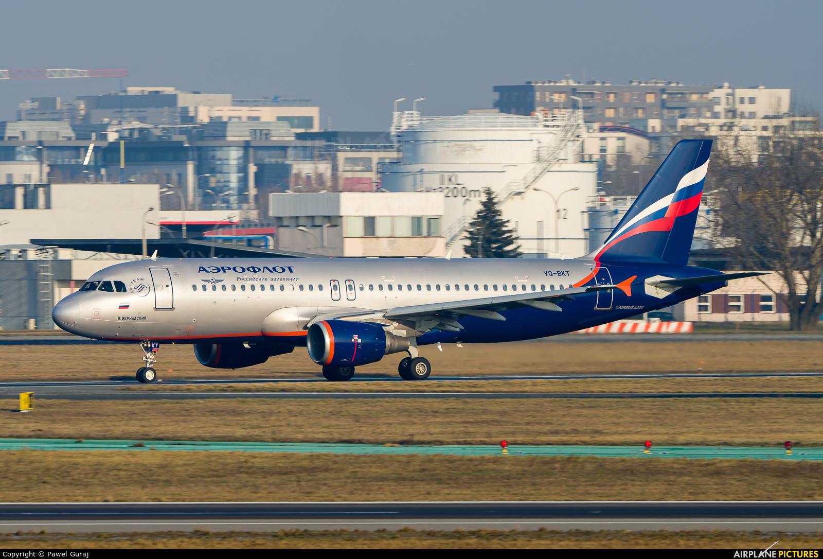 Aeroflot VQ-BKT aircraft at Warsaw - Frederic Chopin