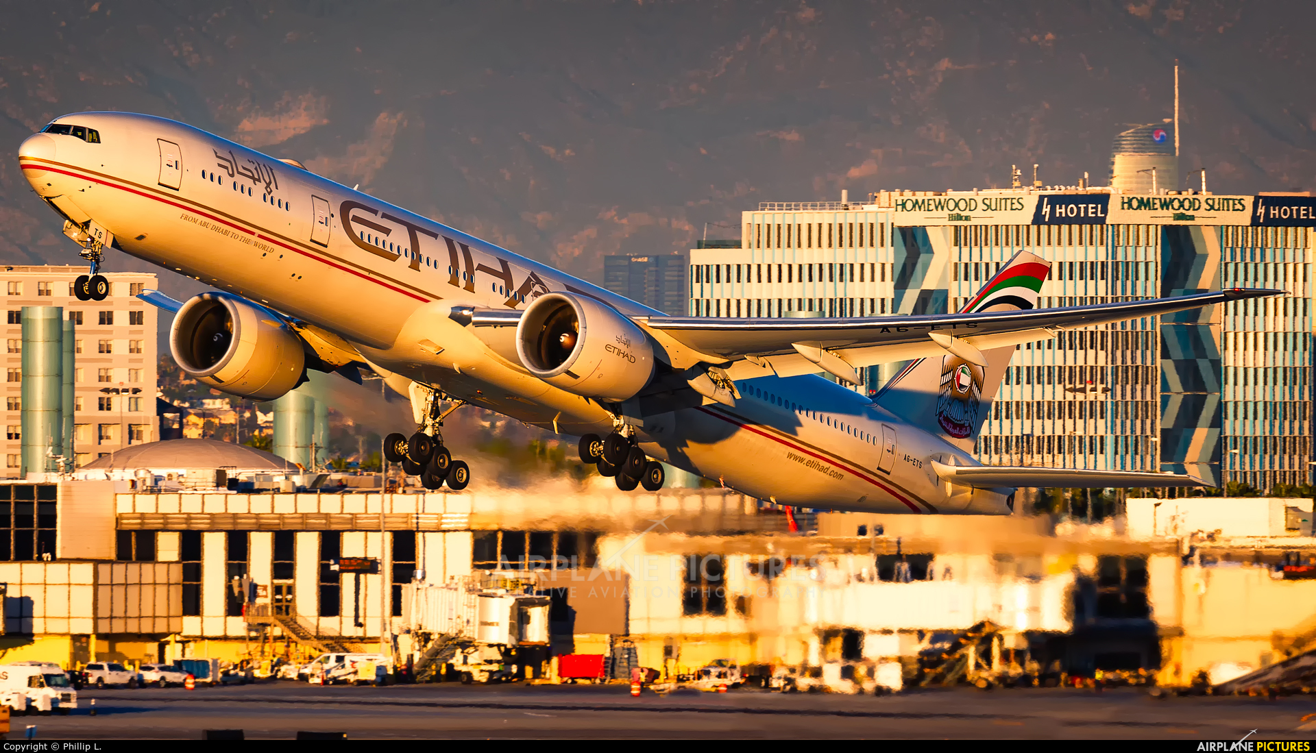Etihad Airways A6-ETS aircraft at Los Angeles Intl