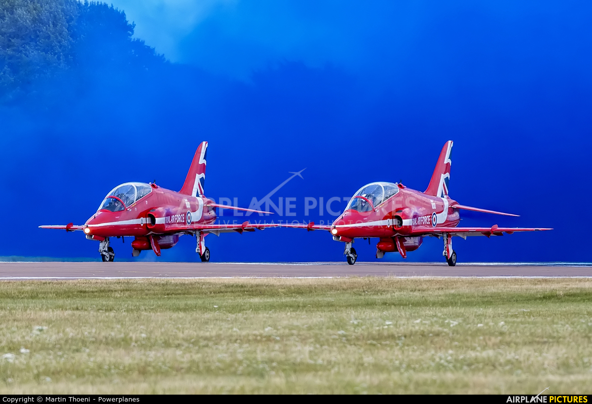 "Royal Air Force ""Red Arrows"" XX218 aircraft at Fairford"