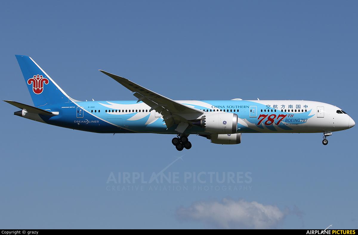 China Southern Airlines B-1168 aircraft at Christchurch Intl