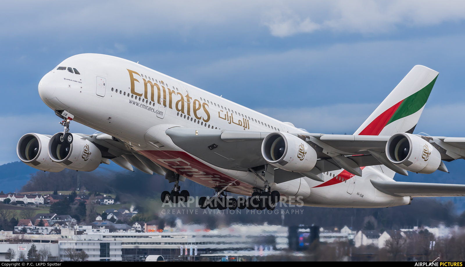 Emirates Airlines A6-EUB aircraft at Zurich