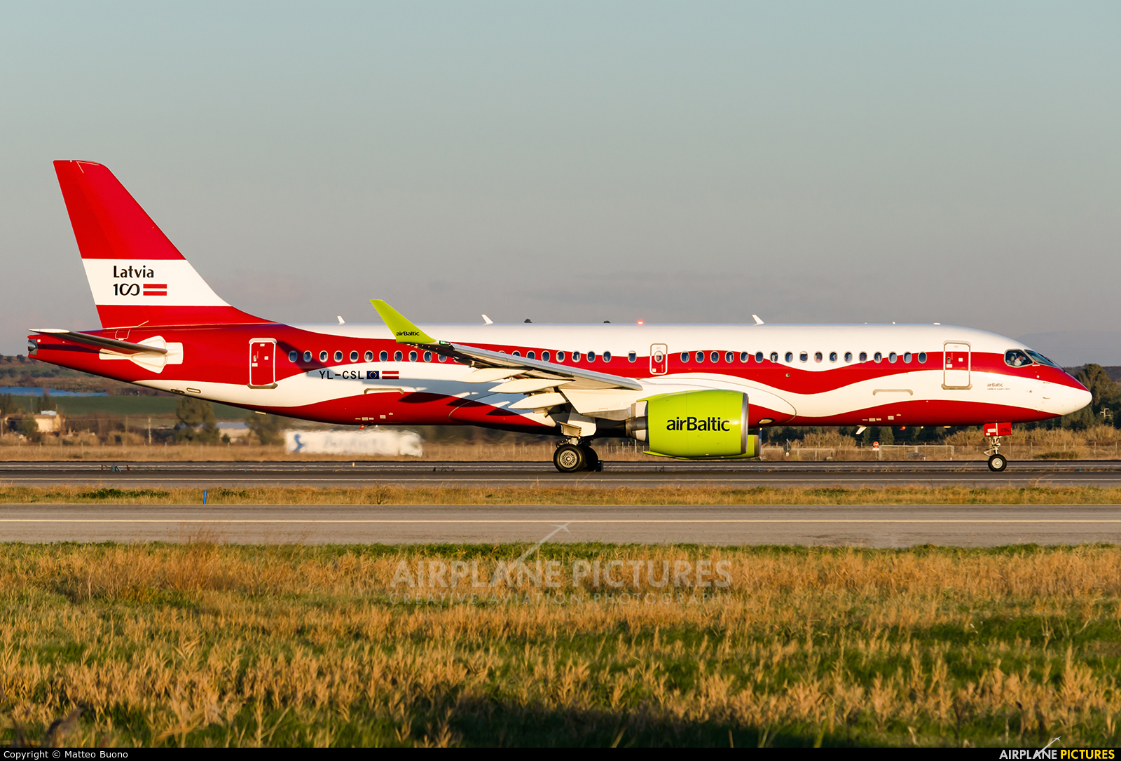 Air Baltic YL-CSL aircraft at Rome - Fiumicino