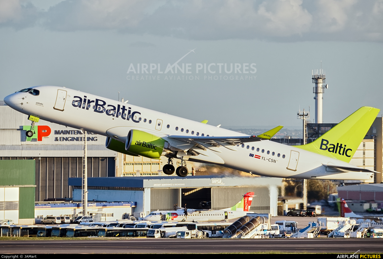 Air Baltic YL-CSN aircraft at Lisbon
