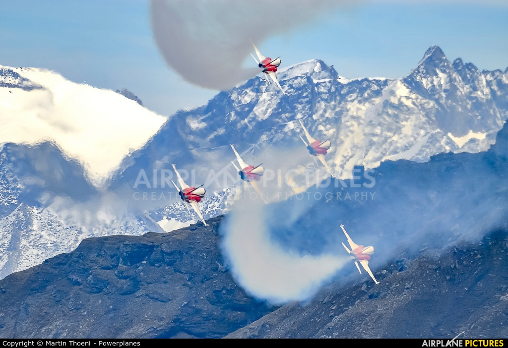 Switzerland - Air Force:  Patrouille de Suisse - aircraft at Axalp - Ebenfluh Range