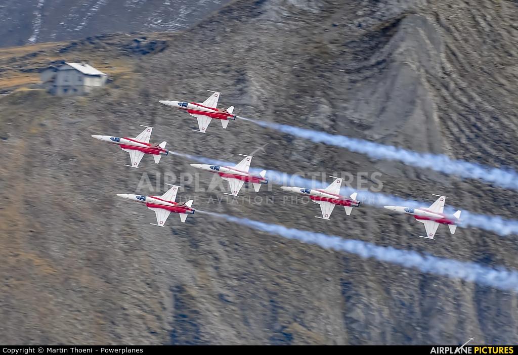 Switzerland - Air Force:  Patrouille de Suisse - aircraft at Axalp - Ebenfluh Range