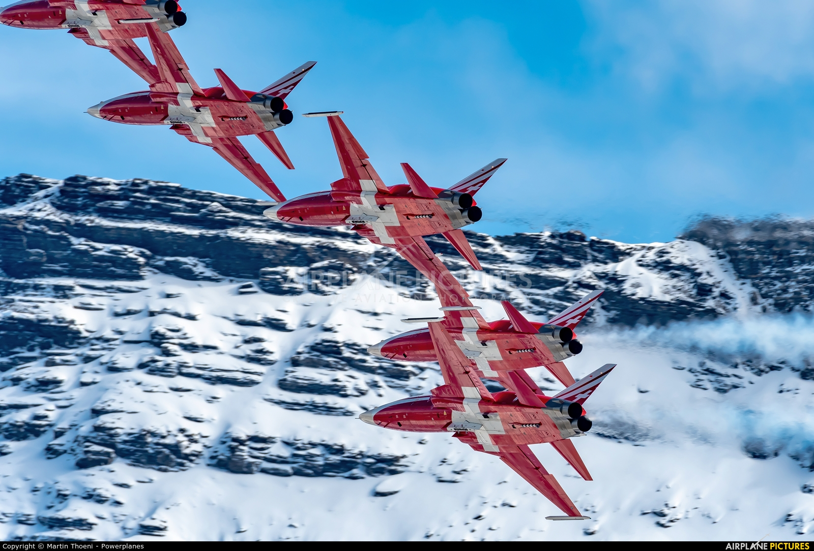 Switzerland - Air Force:  Patrouille de Suisse J-30** aircraft at Axalp - Ebenfluh Range