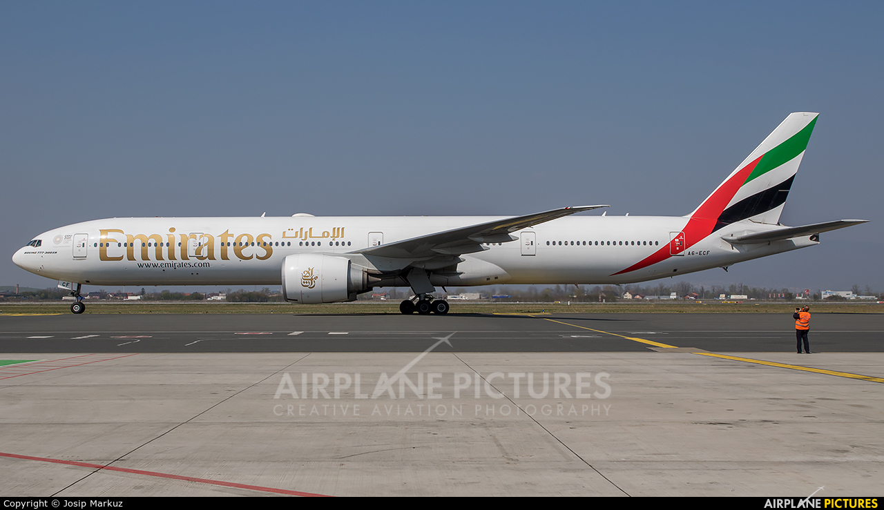 Emirates Airlines A6-ECF aircraft at Zagreb