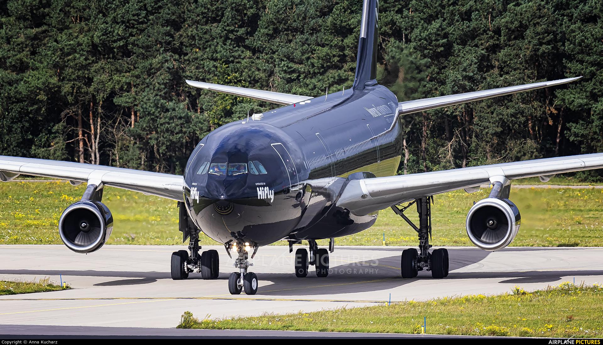 Hi Fly 9H-TQM aircraft at Eindhoven