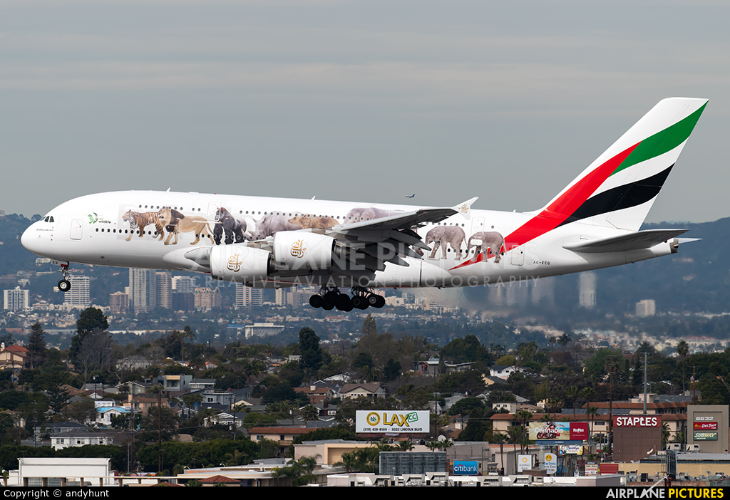 Emirates Airlines A6-EEQ aircraft at Los Angeles Intl