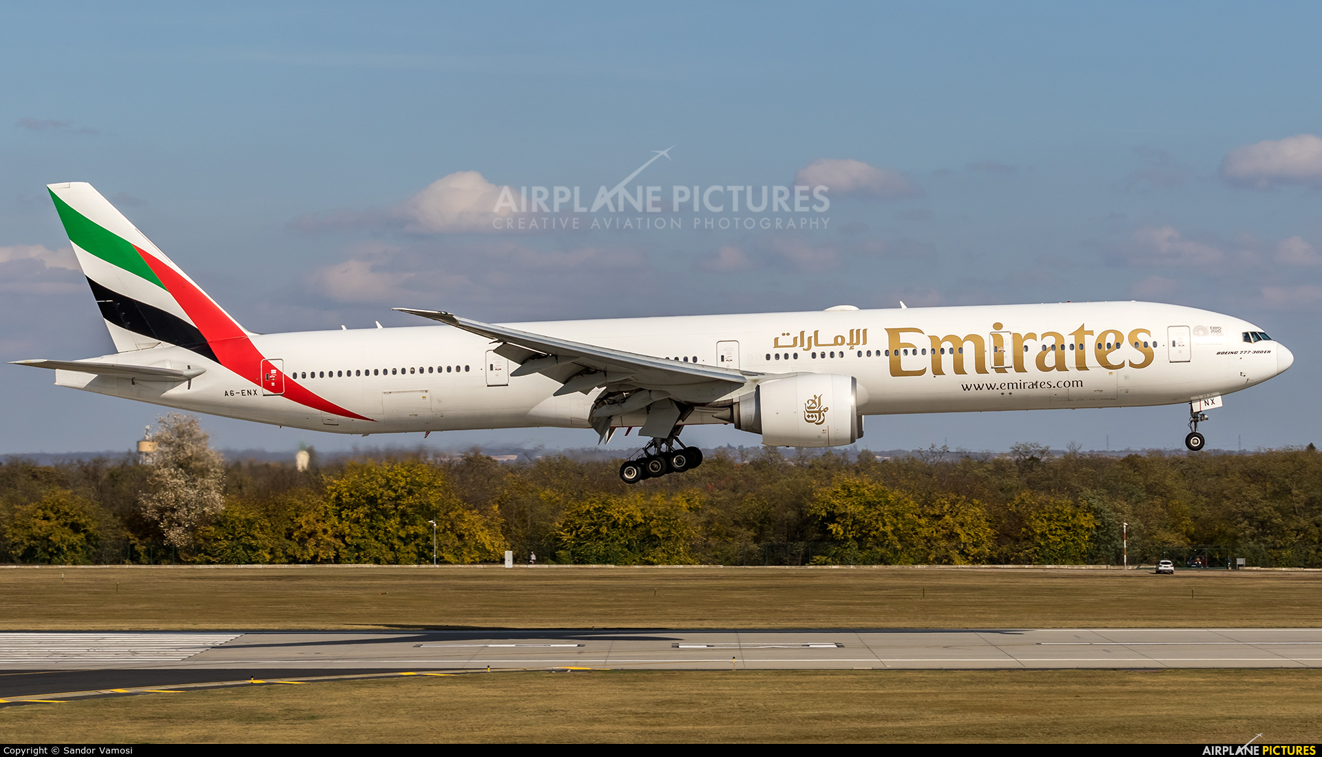 Emirates Airlines A6-ENX aircraft at Budapest Ferenc Liszt International Airport