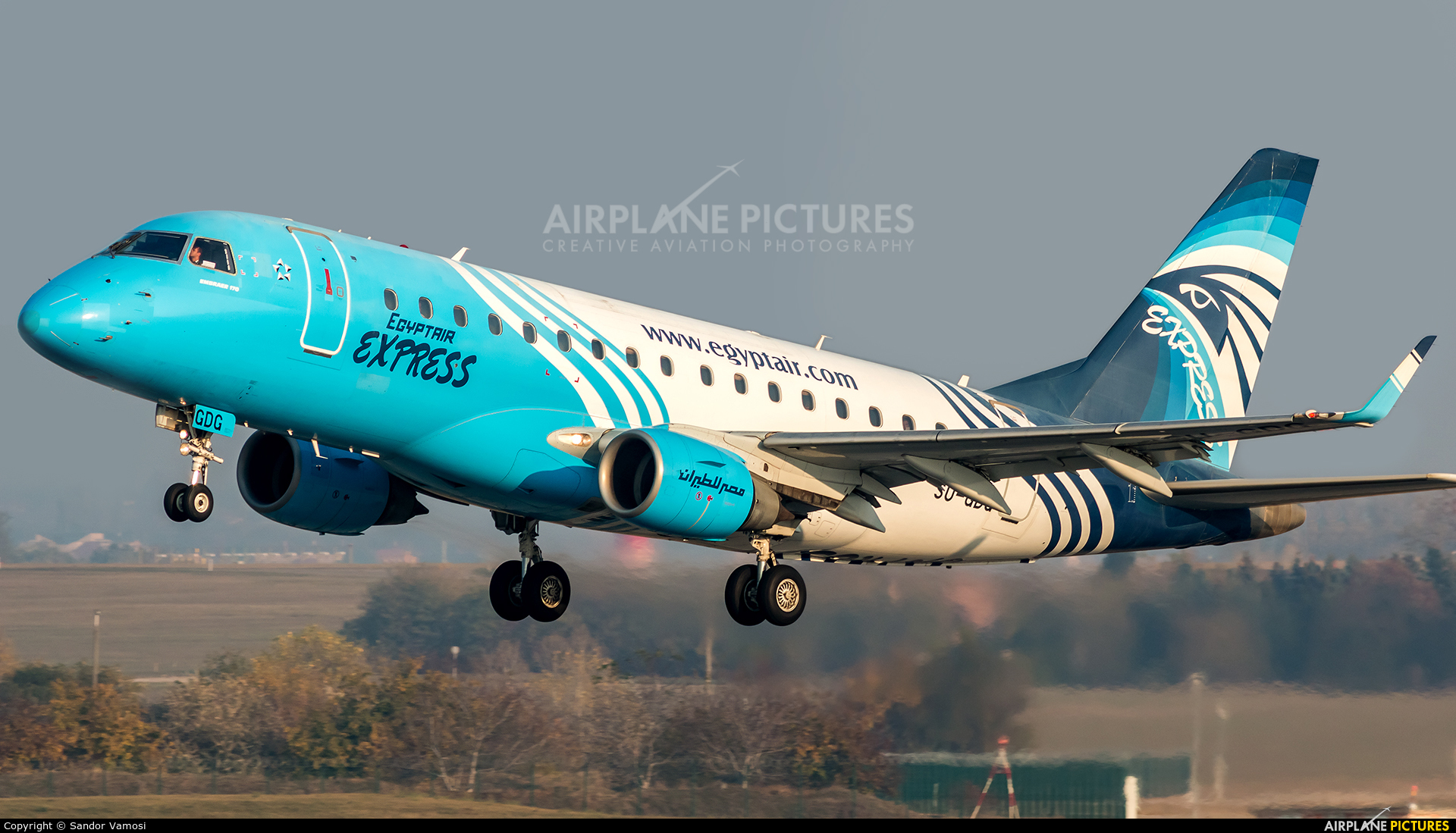 Egyptair Express SU-GDG aircraft at Budapest Ferenc Liszt International Airport