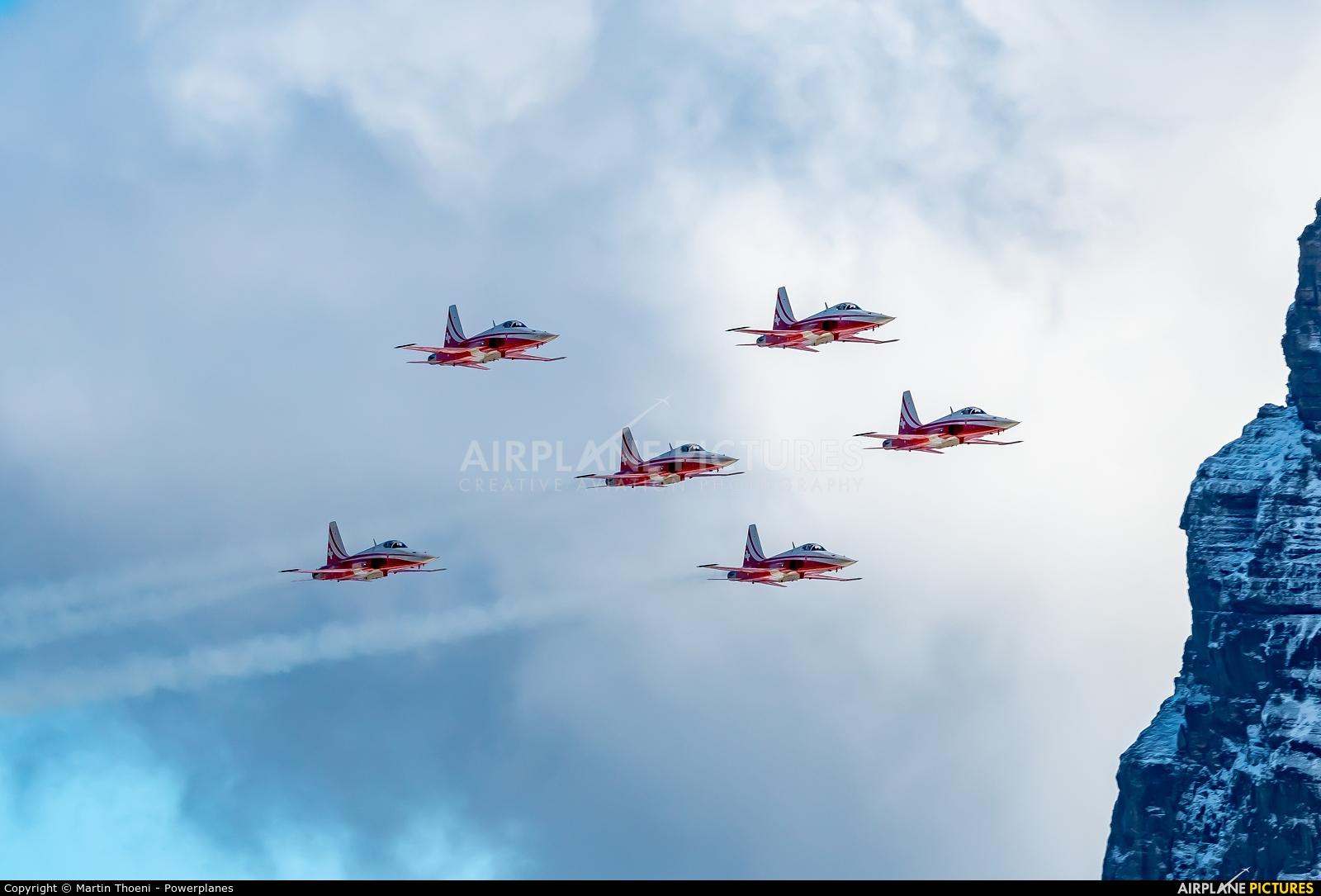 Switzerland - Air Force: Patrouille Suisse J-3087 aircraft at Axalp - Ebenfluh Range