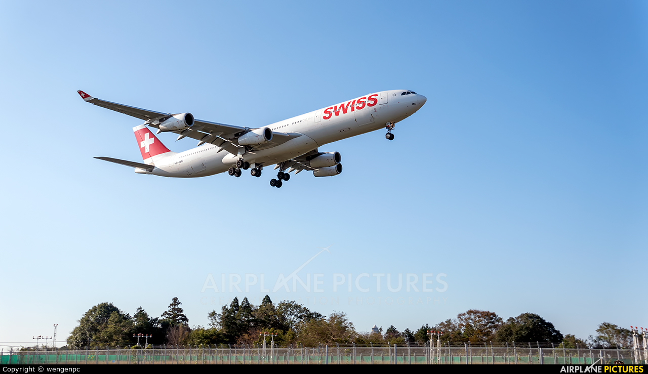 Swiss HB-JMC aircraft at Tokyo - Narita Intl