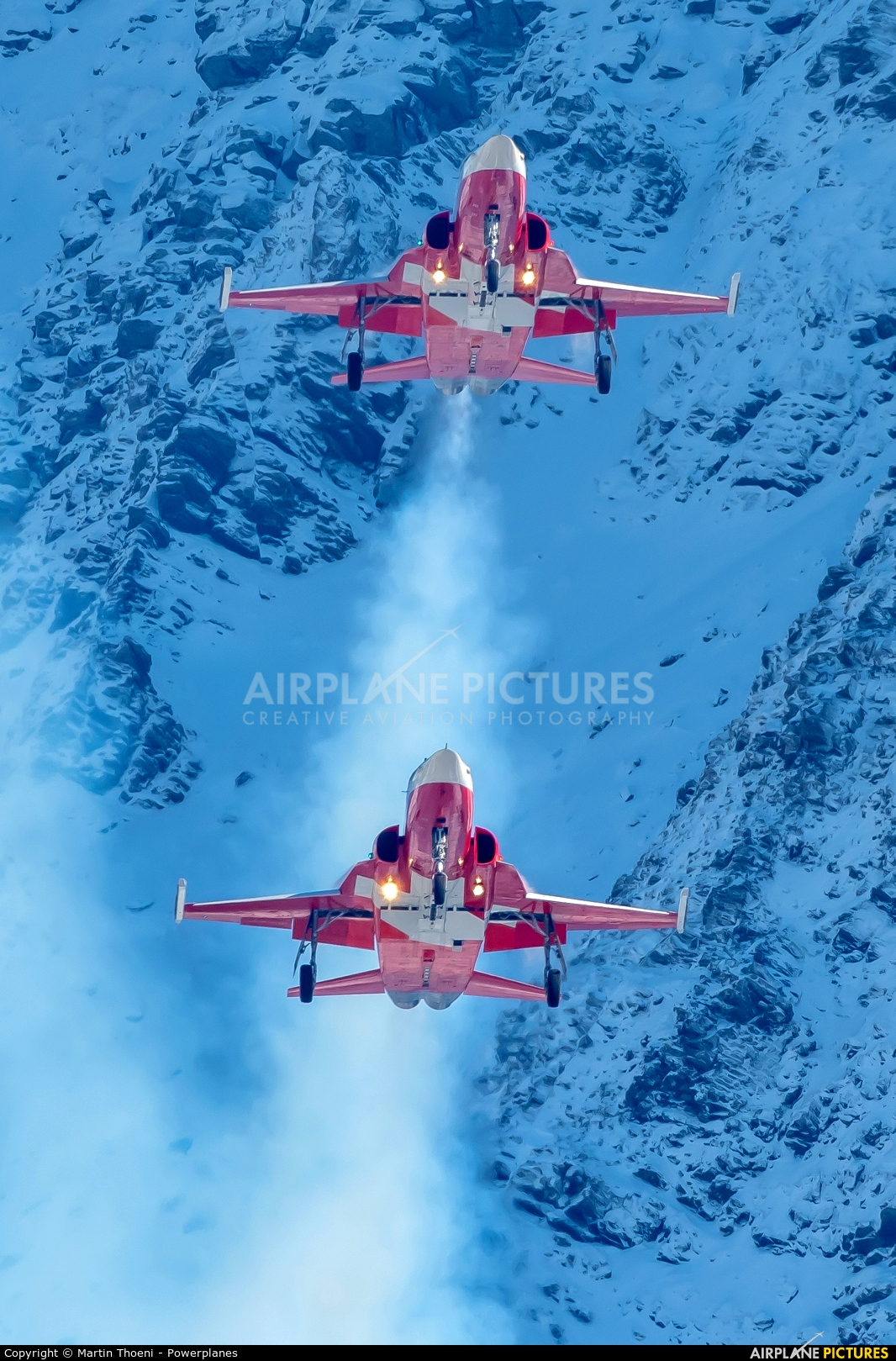 Switzerland - Air Force: Patrouille Suisse J-3085 aircraft at Axalp - Ebenfluh Range