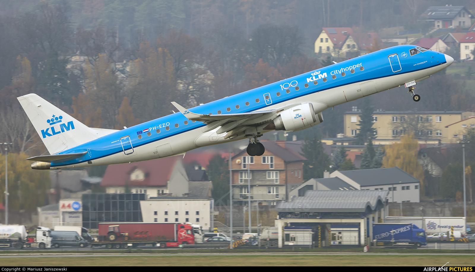 KLM Cityhopper PH-EZO aircraft at Kraków - John Paul II Intl