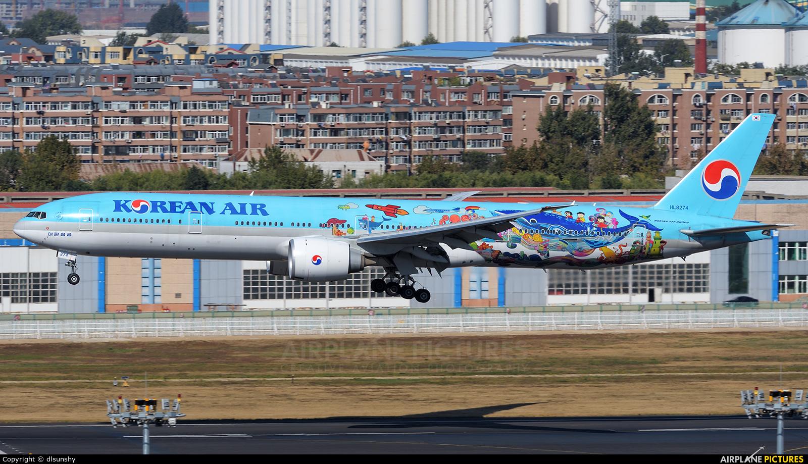 Korean Air HL8274 aircraft at Dalian Zhoushuizi Int'l
