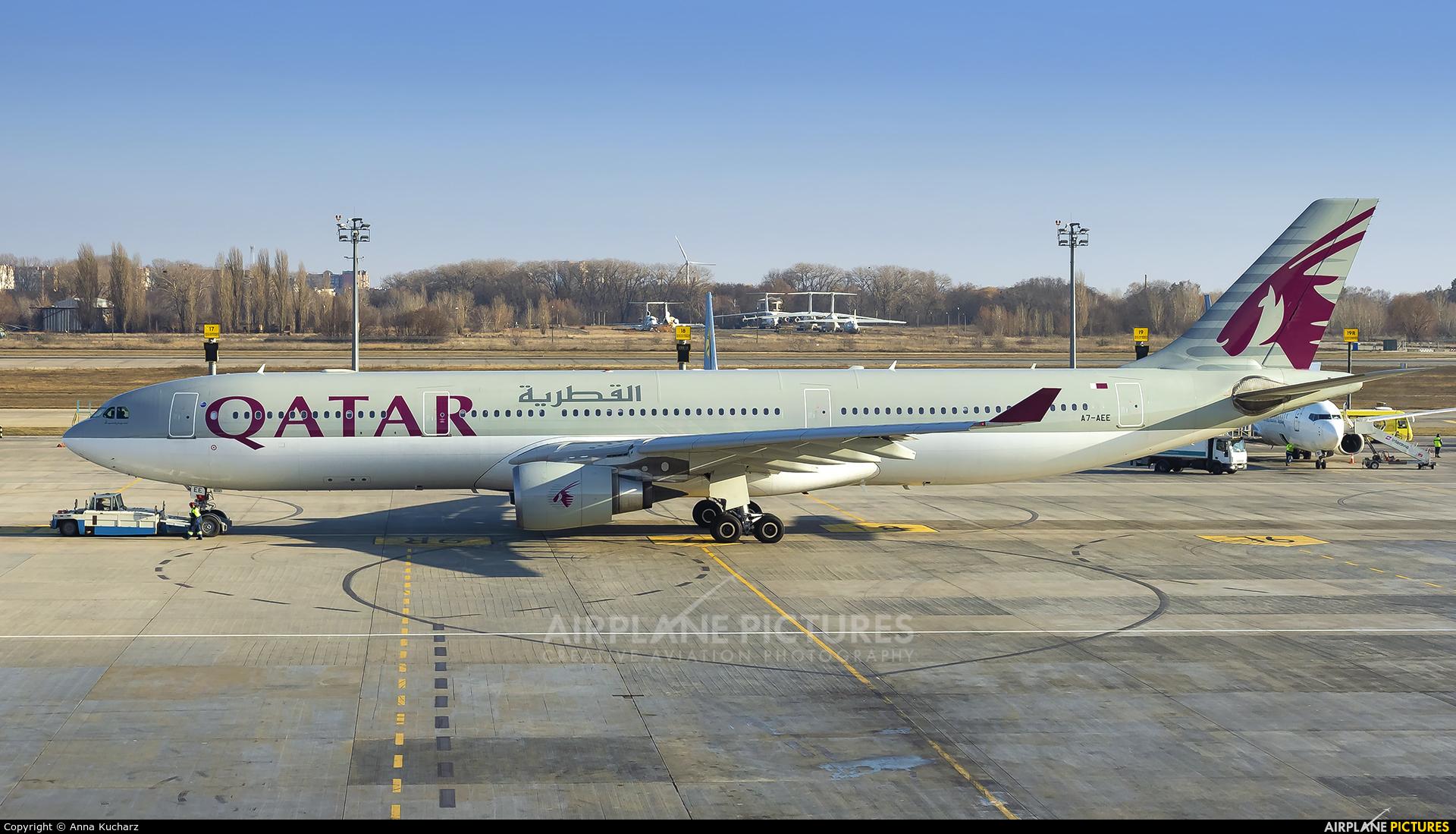 Qatar Airways A7-AEE aircraft at Kiev - Borispol