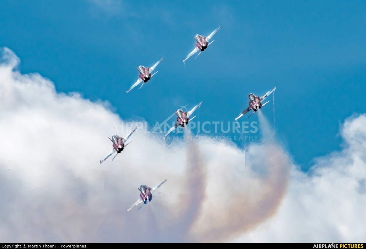 Switzerland - Air Force: Patrouille Suisse J-3082 aircraft at Axalp - Ebenfluh Range