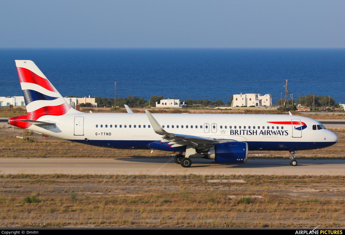 British Airways G-TTND aircraft at Santorini