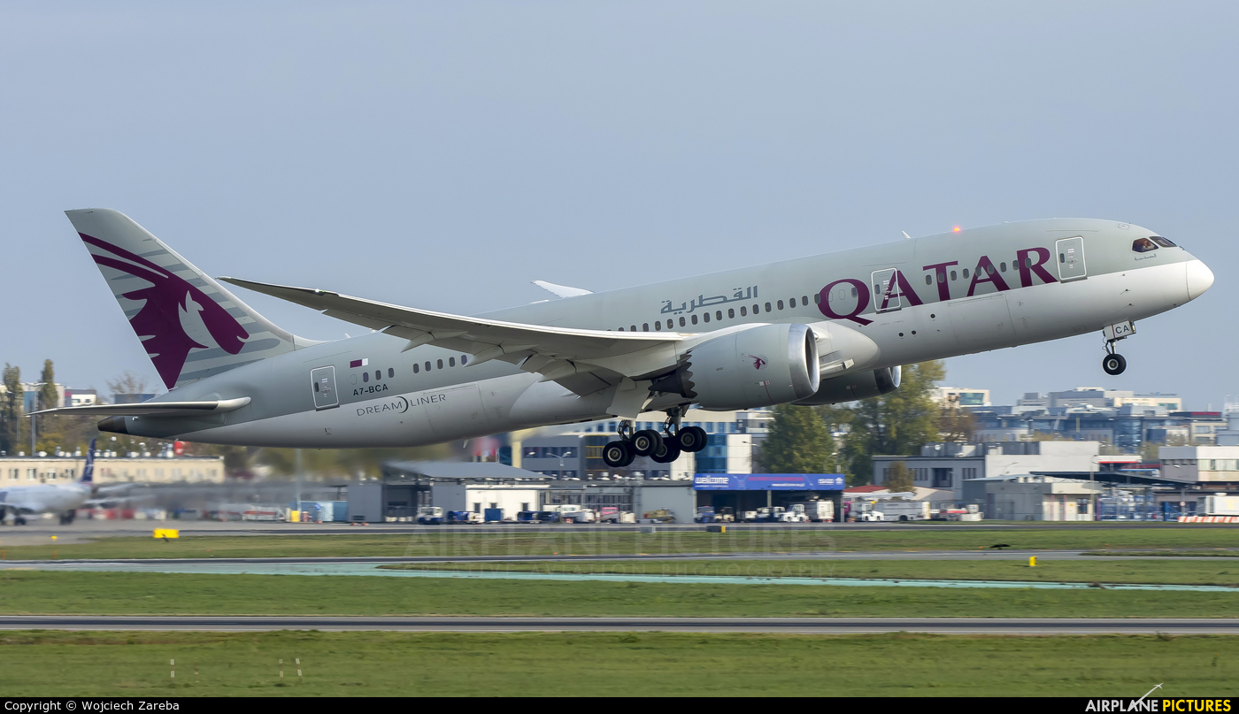 Qatar Airways A7-BCA aircraft at Warsaw - Frederic Chopin