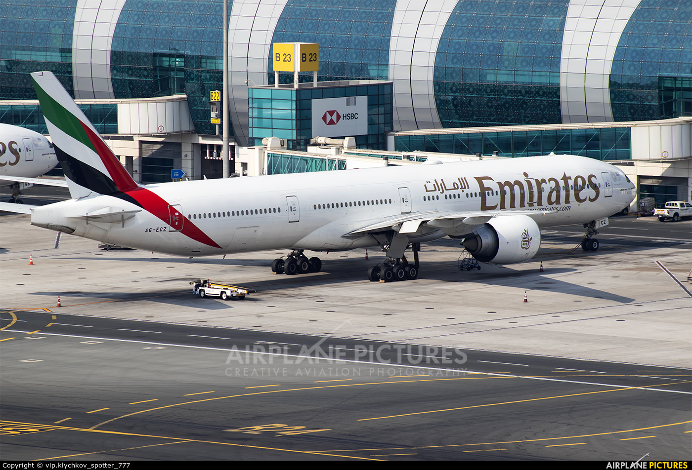 Emirates Airlines A6-ECZ aircraft at Dubai Intl