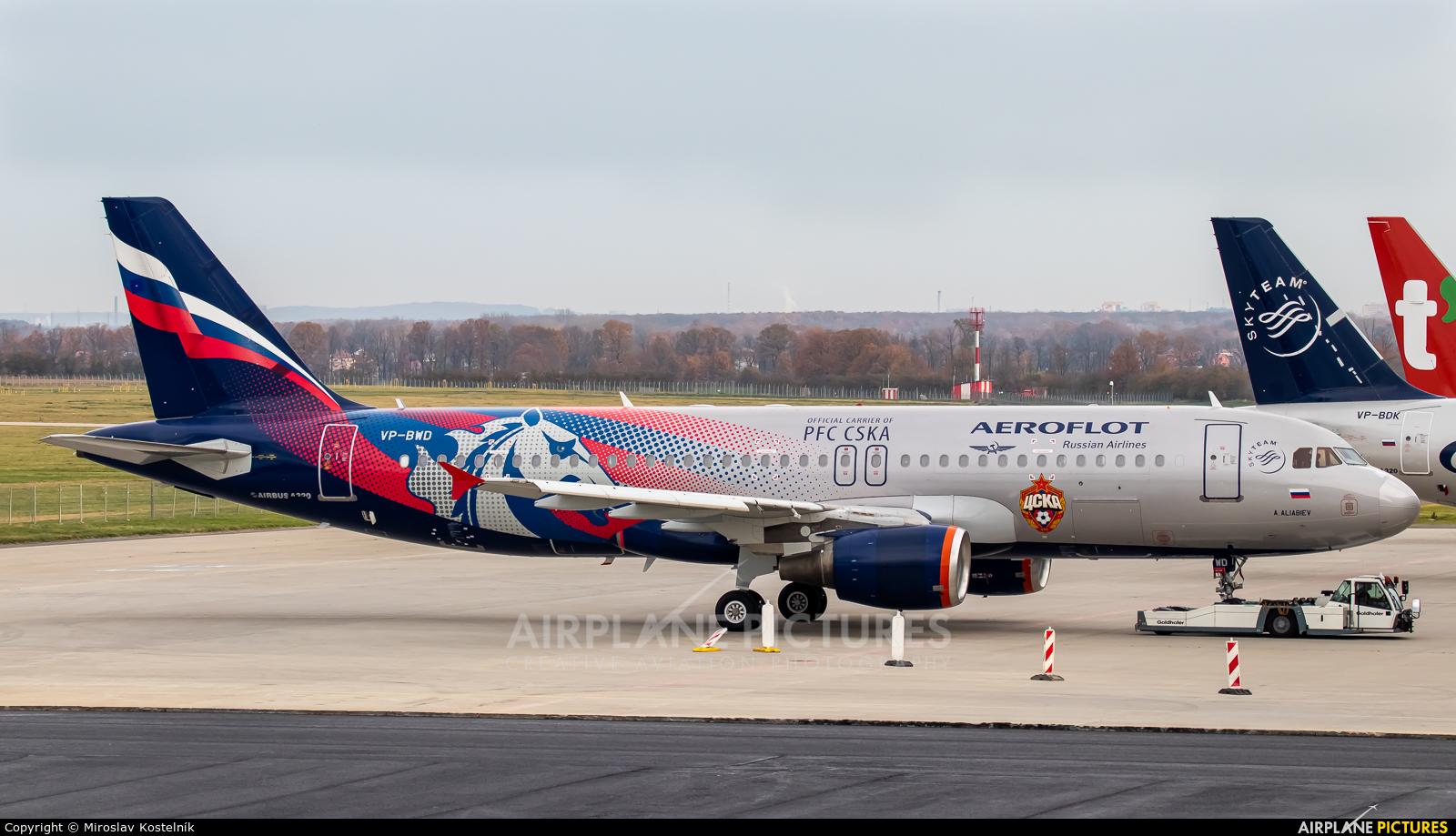 Aeroflot VP-BWD aircraft at Ostrava Mošnov