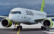 Rare visit of Air Baltic A220 to Poprad Tatry Airport title=