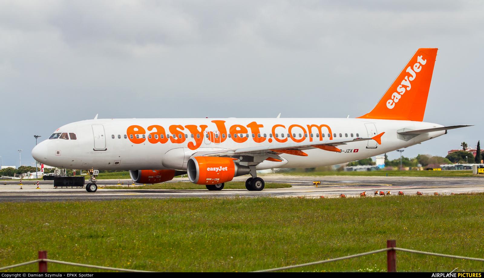 easyJet Switzerland HB-JZX aircraft at Lisbon