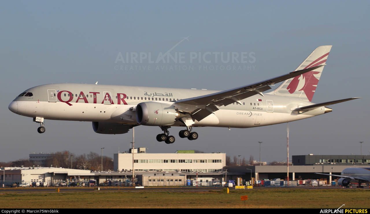 Qatar Airways A7-BCU aircraft at Warsaw - Frederic Chopin