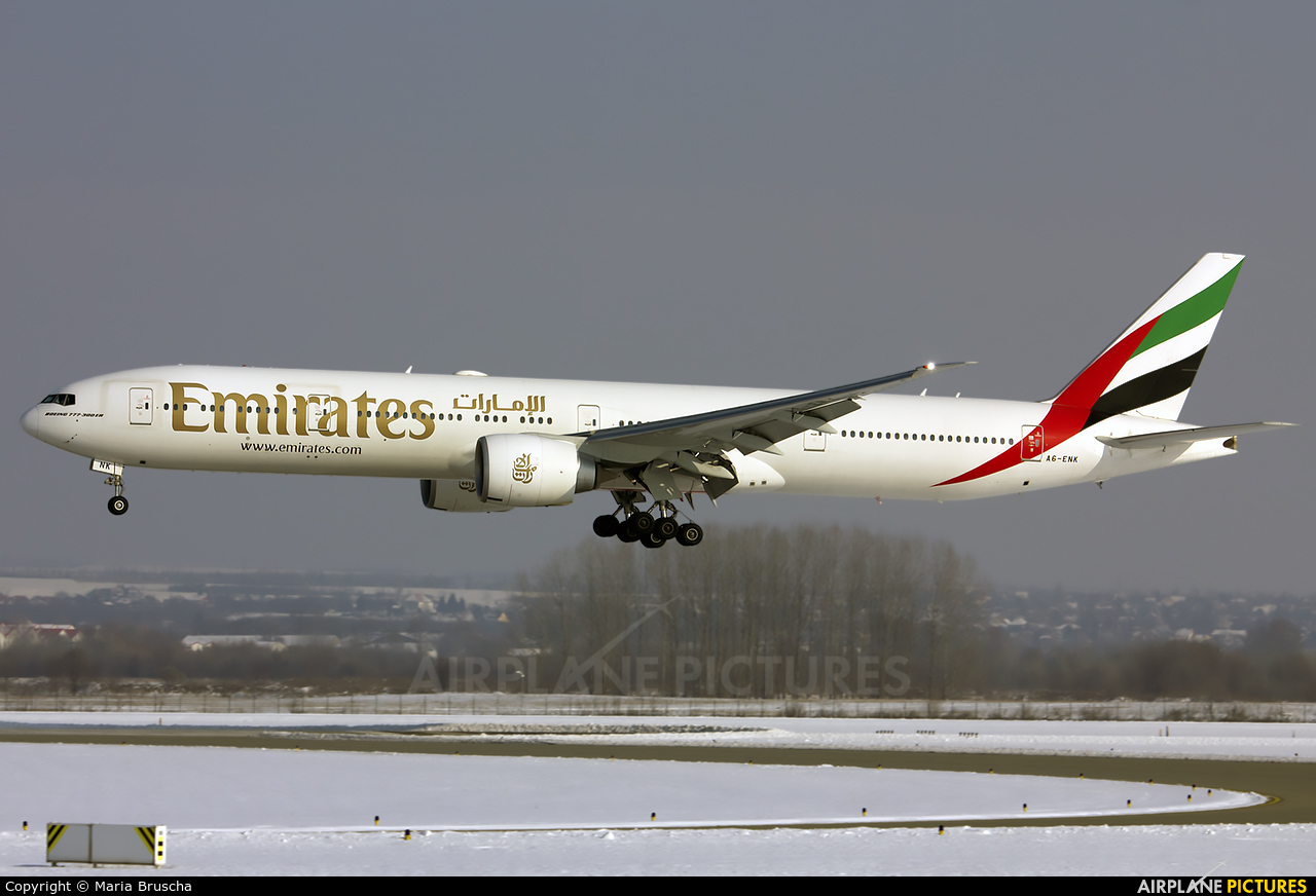 Emirates Airlines A6-ENK aircraft at Budapest Ferenc Liszt International Airport