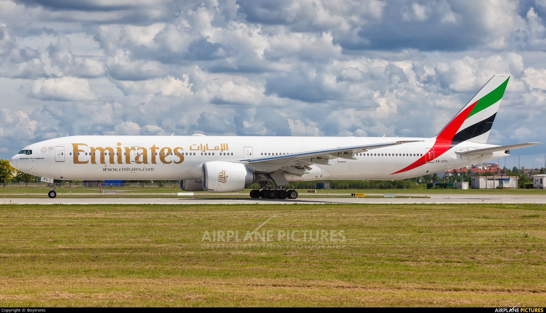 Emirates Airlines A6-EPL aircraft at Zagreb