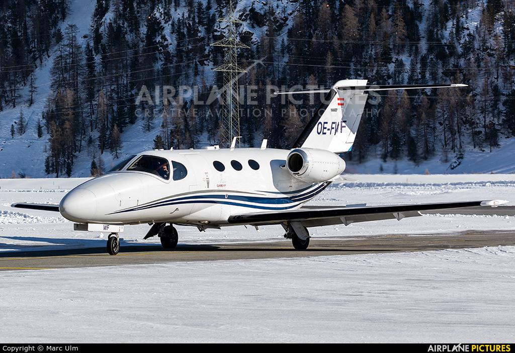 Globe Air OE-FWF aircraft at Samedan - Engadin