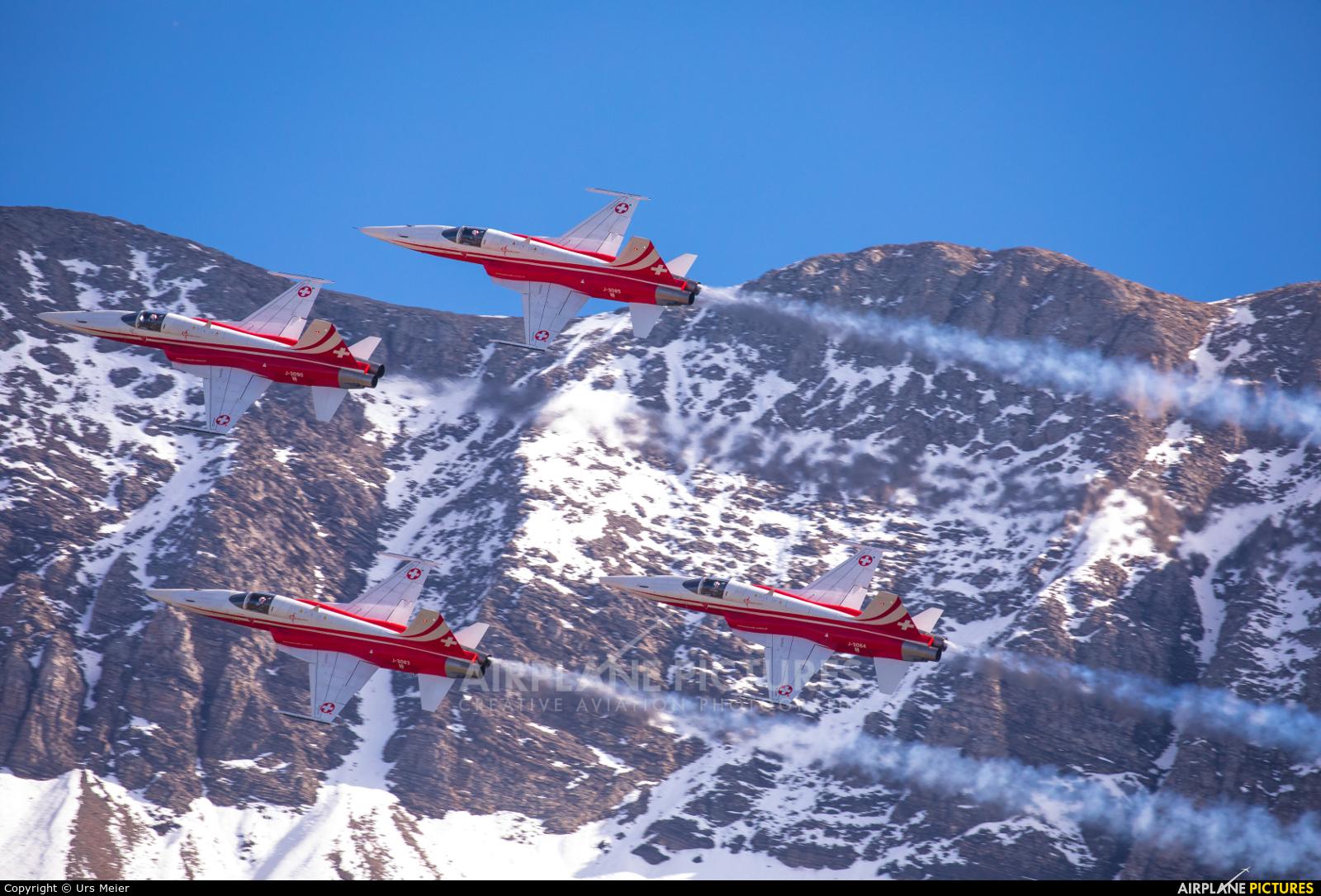 Switzerland - Air Force:  Patrouille de Suisse J-3090 aircraft at Meiringen