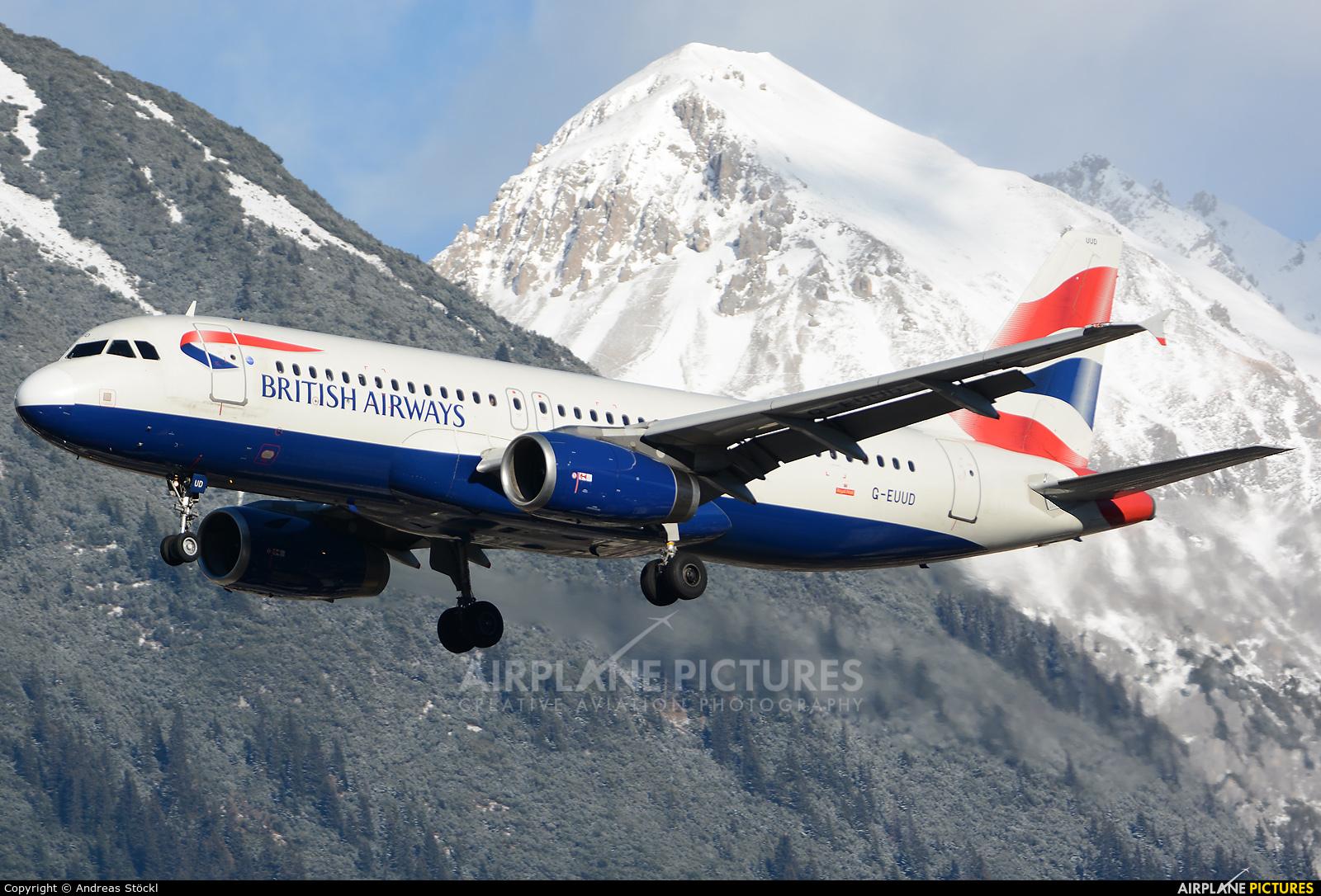 British Airways G-EUUD aircraft at Innsbruck