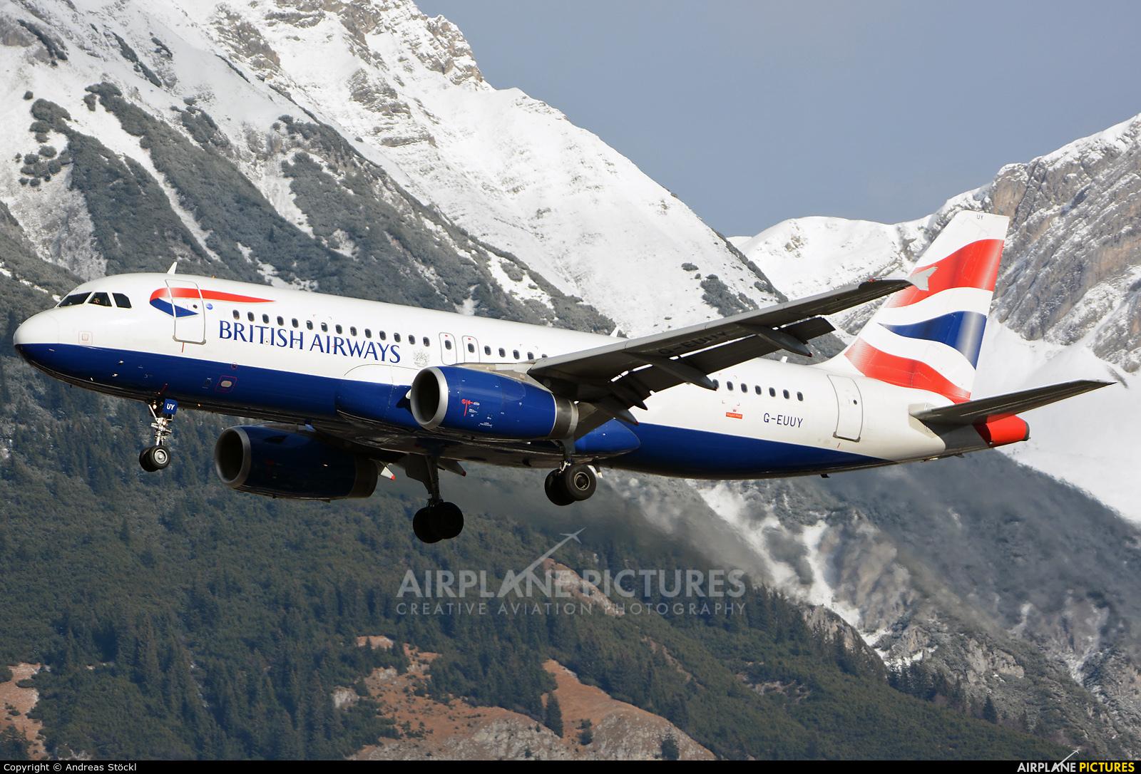 British Airways G-EUUY aircraft at Innsbruck