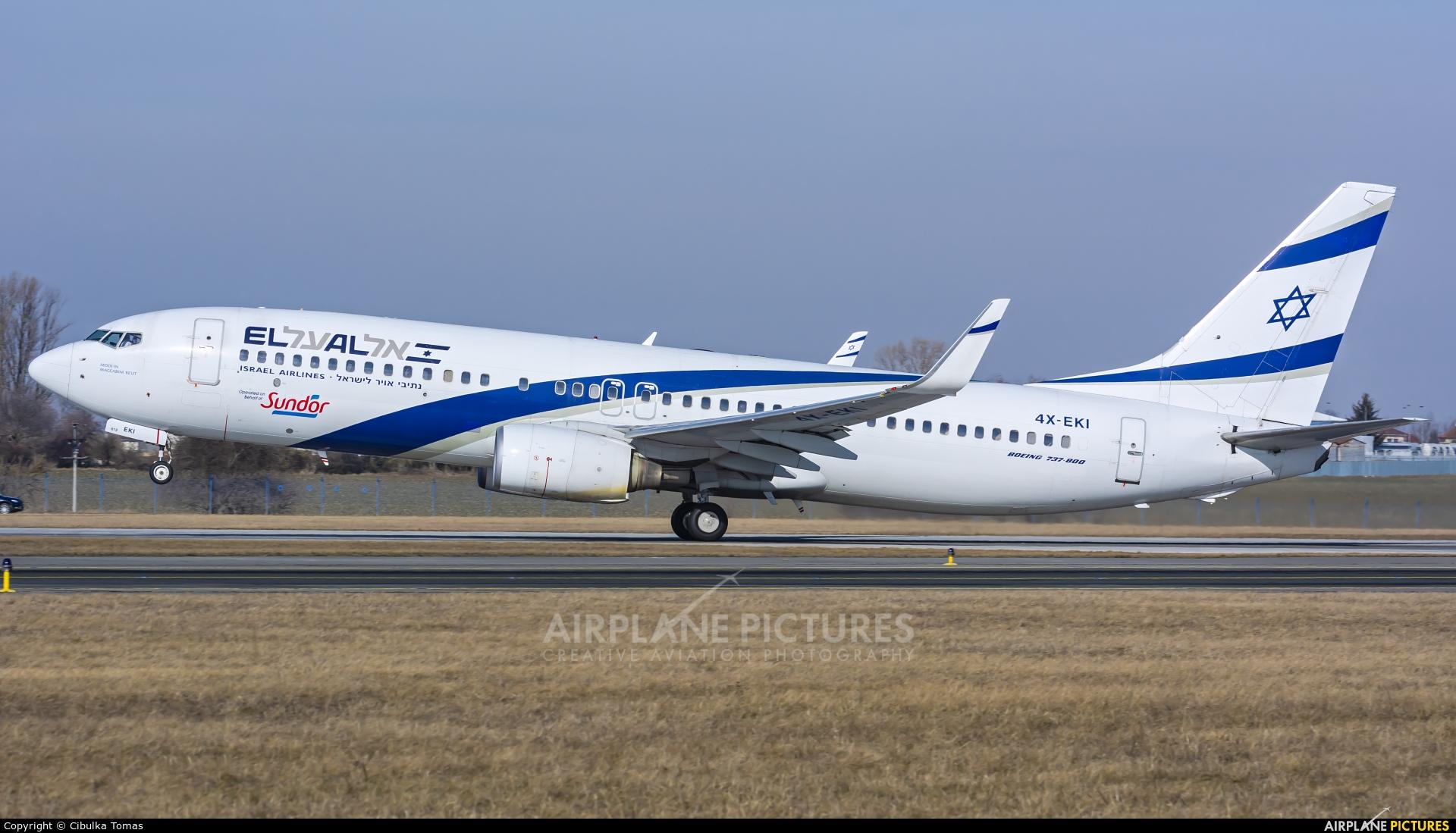 El Al Israel Airlines 4X-EKI aircraft at Prague - Václav Havel