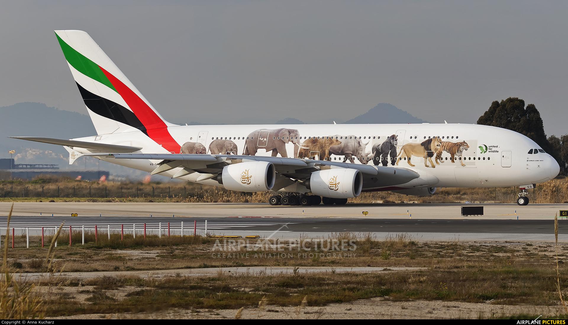 Emirates Airlines A6-EEQ aircraft at Barcelona - El Prat